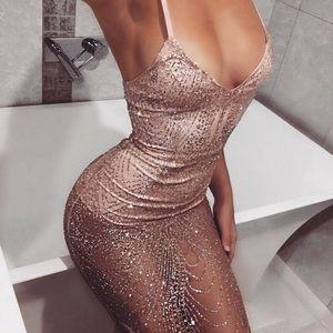 See thru you sheer embellished midi dress